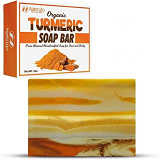 Organic Turmeric Soap Bar   Pure Natural Handcrafted Skincare, Made in USA Face & Body Cleanser with Calendula, Aloe Vera,...