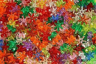 200 Pcs Transparent Red 18mm Starflake Sunburst Plastic Acrylic Craft Beads
