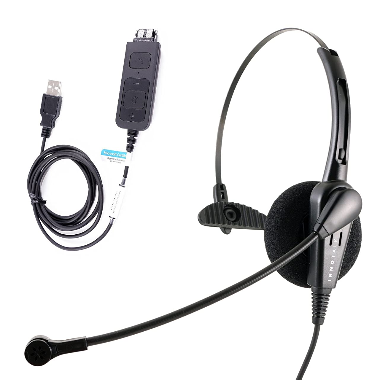 スコットランド人スピン帳面コスト効率Professional USBコンピュータのPCのVoIP Softphone用のヘッドセット、耐久性コールセンターヘッドセット、JABRA互換QD