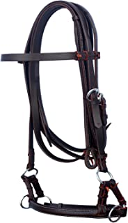 PRORIDER English OR Western Horse Brown Leather BITLESS Bridle SIDEPULL REINS TACK 7703BR
