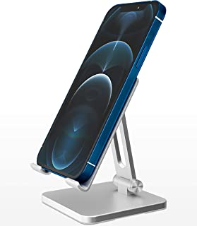 SOUNDANCE Cell Phone Stand for Desk, Multi-Angle Adjustable Cellphone Holder with Heavy Base, Foldable Phone Dock Cradle C...