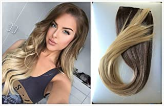 22 Inches Straight Full Head Ombre Dip Dyed Clip-in Hair Extensions 6pcs Pack (Chocolate brown to sandy blonde)