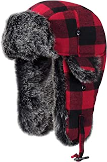 Winter Trapper Hat Unisex Aviator Bomber Hat with Warm Faux Fur and Adjustable Ear Flaps for Men