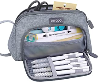 Aiscool Big Capacity Pencil Case Bag Pen Pouch Holder Large Storage Stationery Organizer for School Supplies Office College Teen (Grey)