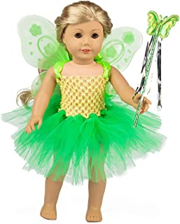 ZITA ELEMENT Fairy American 18 Inch Doll Clothes Accessories - Costume Tutu Angel Wings and Magic Wand for 16 - 18 Inch Girl Doll Outfits - Fancy Gift for Kids Girl Doll Outfits - Nice Gift for Kids