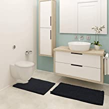 Pretigo Bathroom Rugs Chenille 2-Piece Bath Mat Set, Soft Plush Anti-Slip Shower Rug +Toilet Mat.1'' Microfiber Shaggy Car...