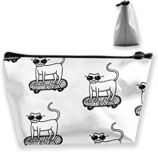 RobotDayUpUP Veronika Demenko Cat On Skate Pattern Womens Travel Cosmetic Bag Portable Toiletry Brush Storage Multipurpose Pen Pencil Bags Accessories Sewing Kit Pouch Makeup Carry Case
