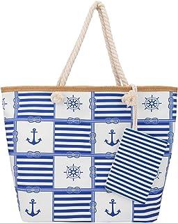 SenPuSi Große Strandtasche mit Reißverschluss Shopper Schultertasche Leinwand Sommer Schwimmbad Damen TascheVerschluss Bad...