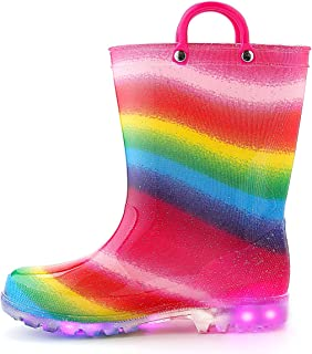 K KomForme KomForme Toddler Boy Girl Rain Boots with Light,Kids Shining Shoes with Memory Foam Insole and Easy-on Handles Rainbow, 10 Toddler