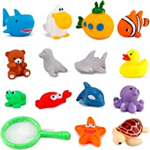 Liberty Imports 15 PCS Water Bath Squirties - Fun Floating Squeeze and Squirt Bathtub Squirters - Ideal Toys for Kids, Babies, Toddlers Bathtime (Ocean Animals)