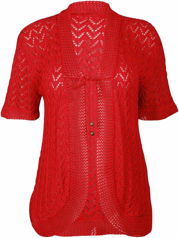 Purple Hanger Women's Bead Bolero Shrug Knitted Cardigan Red 14-16