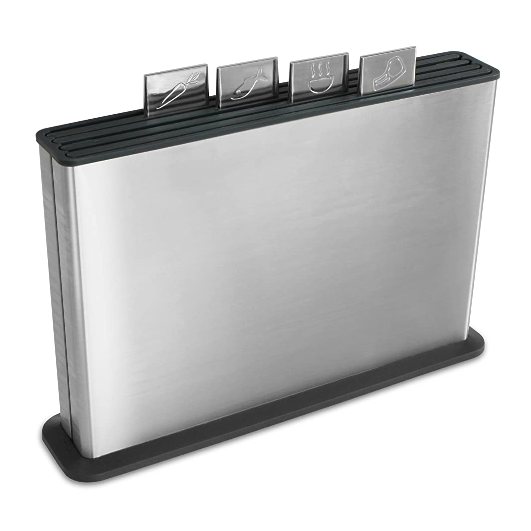 Joseph Joseph 95027 Index Plastic Cutting Board Set with Stainless Steel Storage Case Color-Coded Dishwasher-Safe Non-Slip, Large, Steel Black