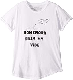 Homework Kills My Vibe Rolled Short Sleeve Slub Crew Neck Tee (Big Kids)