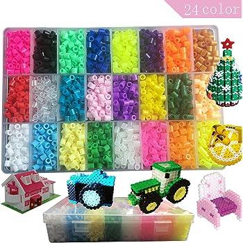Lote de 4800 pcs Abalorios Perler,de los Granos DIY de Perler Caja de fusibles Conjunto de Perlas de 5 mm Hama Beads,24 Color(Brillar en Oscuridad): Amazon.es: Hogar