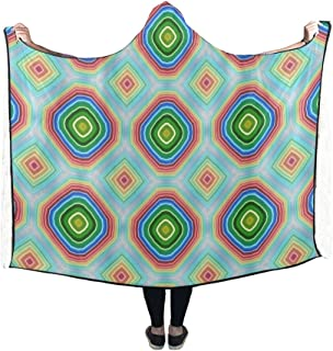 Jnseff Hooded Blanket Pattern Texture Circles Squares Modern Blanket 60x50 Inch Comfotable Hooded Throw Wrap