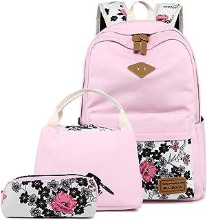 BLUBOON Teens Backpack Set Canvas Girls School Bags, Bookbags 3 in 1 (Floral Pink - 0014 3pcs)