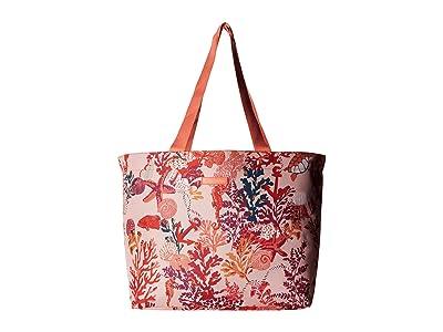 Vera Bradley Drawstring Family Tote (Shore Thing Coral) Tote Handbags
