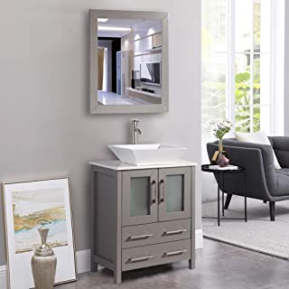 Vanity Art 24 Inch Single Sink Bathroom Vanity Combo Set 2-Drawers, Single Shelf, Single Cabinet White Quartz Top and Ceramic Vessel Sink Bathroom Cabinet with Mirror - VA3124-G