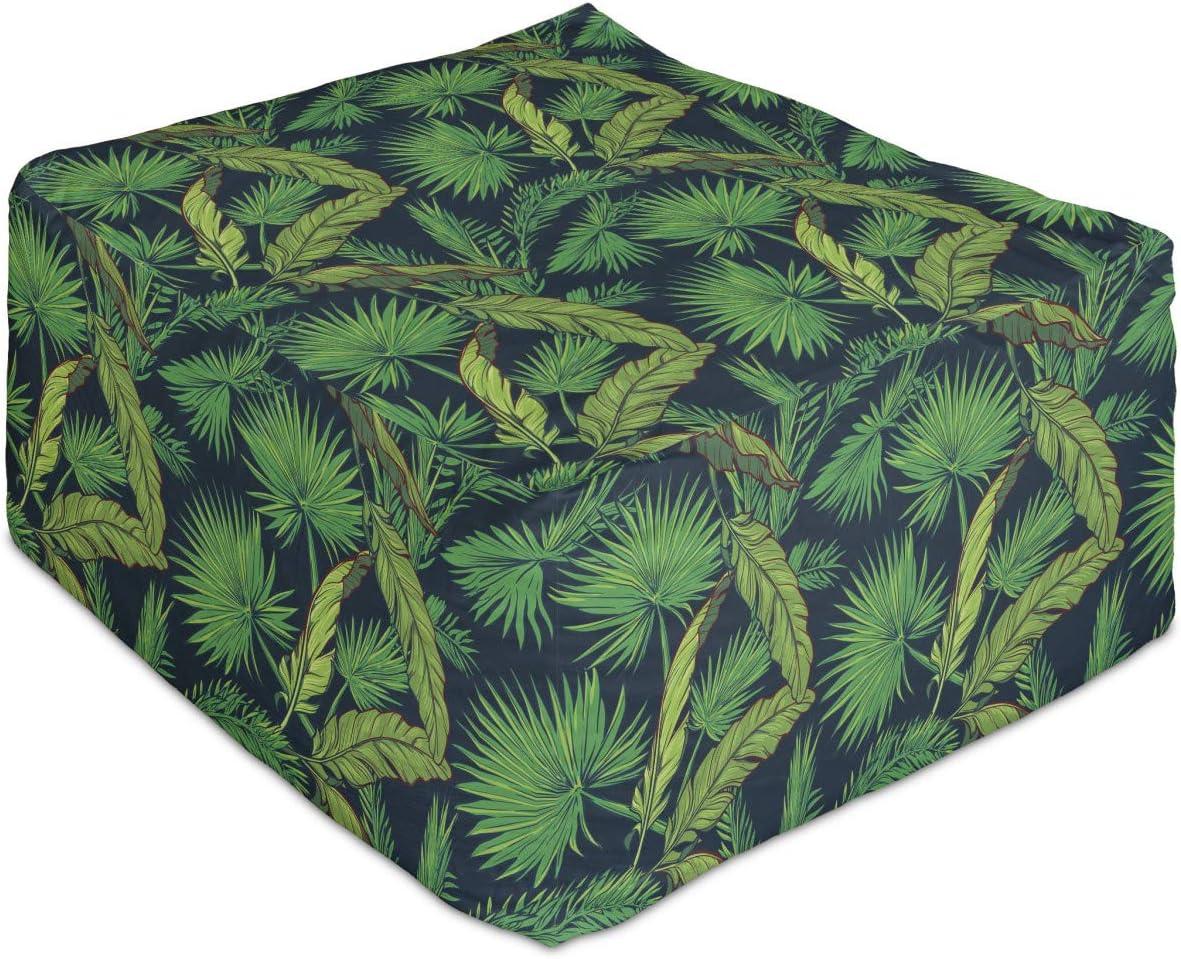 Lunarable Jungle Rectangle Pouf Exotic Palm Leaf Import Austin Mall Fan and Areca