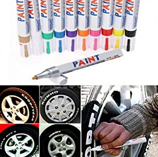 BEMLP Waterproof Metallic Paint Marker pens with Fluorescence Colors tire Black Paint Ceramic Markers for Glass Fabric highlighters Tire Pen