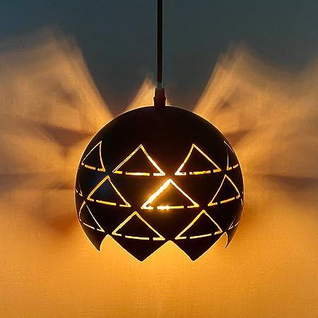 Lovebay pendentif creux lampe Vintage Suspension Lampe Réglable Hauteur Creux Industrielle Pendentif Luminaire E27 suspendu luminaire Métal Abat-jour Suspendue Lampe pour salon cuisine couloir, noir