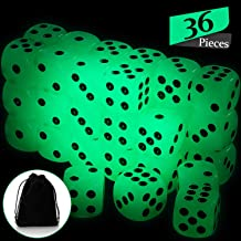 36 Pieces Dice Glow in The Dark Luminous Dice 6 Sided Dice with Black Velvet Pouches for Board Games, Activity, Casino The...
