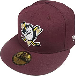 53f5e5dce49ff New Era 59Fifty Anaheim Mighty Ducks Fitted Hat (Maroon) Men s NHL Hockey  Cap