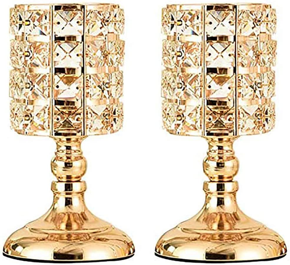 A surprise price is realized online shop Gold Crystal Candle Holder Romantic Metal