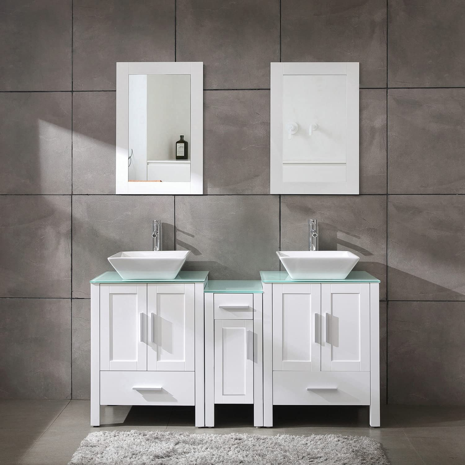 Amazon Com 60 Bathroom Vanity Cabinet With Double Sink Combo Glass Top White Mdf Wood W Mirror Faucet Drain Set Tools Home Improvement