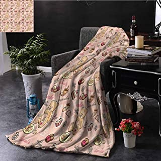 SSKJTC Kids Orange Throw Blanket Double-Sided Printing Cupcakes Cookies Donuts Bed Sleeping Travel Pets Reading W60 xL50