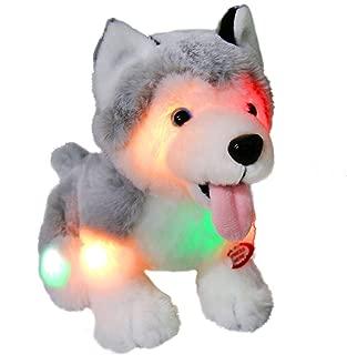 Athoinsu Light up Stuffed Husky Puppy Dog Soft Plush Toy with Magic LED Night Lights Glow Christmas Halloween for Toddler Kids, 8''