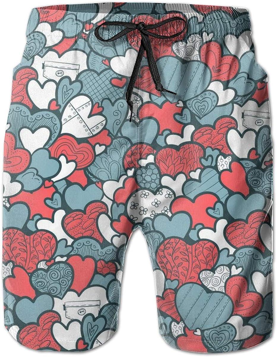 Men Beach Board Shorts Swim Trunks Bathing Suit - Love Heart Patterns