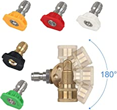 AgiiMan High Pressure Washer Nozzles Kit - 4500 PSI Power Washer Tips Accessories Set, 180 Degree Quick Connecting Pivoting Coupler