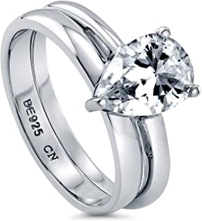 Rhodium Plated Sterling Silver Pear Cut Cubic Zirconia CZ Solitaire Engagement Wedding Ring Set 1.8 CTW