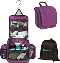 Toiletry Bag Hanging for Travel | Transparent TSA compliant Zipper Bag & Resistant Drawstring Bag Included (Purple)