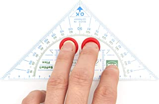 Triangle Protractor, with Anti-Slide Grips for Fix Positioning On Paper and to Prevent Slipping During Use, 16cm Length Triangular Protractor