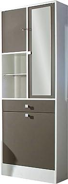 Armoire Bac à Linge, Panneaux de Particules/Melamines, Blanc, 62,6 x 28,4 x 181,1 cm