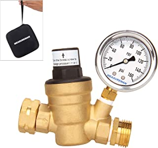 Measureman Adjustable Lead Free Brass RV Pressure Regulator, Pressure Reducer with Liquid Filled Pressure Gauge 160psi and Inlet Screened Filter for RV Camper Travel Trailer