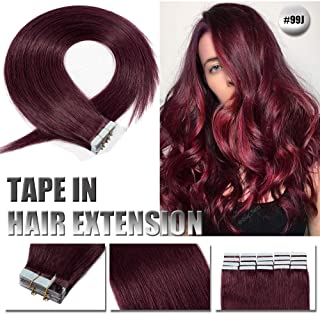 """18"""" 50g Tape in Real Human hair Extension Invisible Seamless Tape in Skin Weft Hair Extension Strong Double side M Tape Straight Natural Remy Hair Extension 20pcs Per Package #99J Wine Red"""