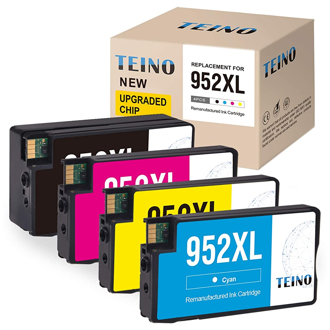 TEINO Re-Manufactured Ink Cartridge Replacement for HP 952XL 952 XL New Upgraded Chip (1 Black, 1 Cyan, 1 Magenta, 1 Yellow, 4-Pack) OfficeJet Pro 8710 8715 8720 8740 7740 8210 8730 8702 8725 8216