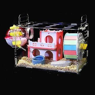 yiteng 透明なハムスターケージ ハムスターハウス ハムスター専用 飼育ケージ 小動物用 ペット遊び場 通気性抜群 運動不足解消 組立式 持ち運びやすい 掃除しやすい 給水ボトル 食器 バスルーム 回し車 30*20*30cm