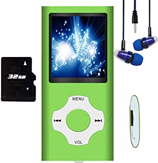 MP3 Player, Hotechs MP3 Music Player with 32GB Memory SD Card Slim Classic Digital LCD 1.82'' Screen Mini USB Port with FM...