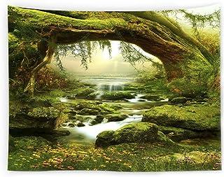 TSUBASI 自然の壁タペストリー 壁掛け タペストリー 森 日光 クリーク おしゃれ 壁掛け 森のタペストリー 装飾品 模様替え 部屋 リビングルーム 窓カーテン ギフト 新居祝い (100x75cm)