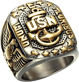 Alicejewelry Vintage Stainless Steel Ring USN United States Navy Militatry Titanium Rings