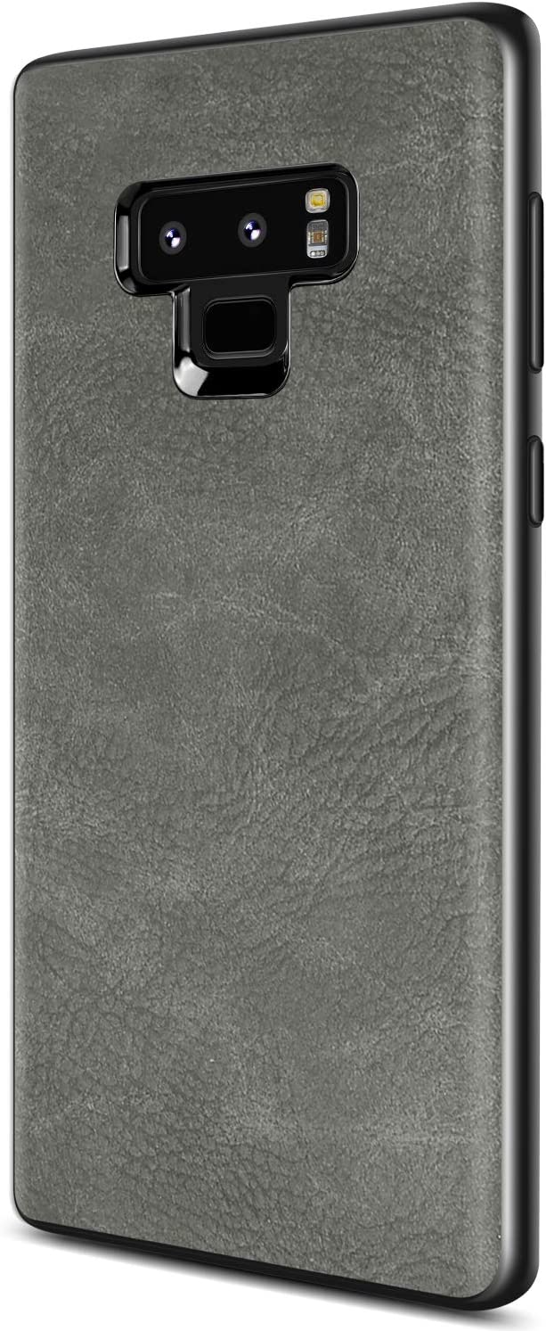 SALAWAT Samsung Galaxy Note 9 Case, Slim PU Leather Vintage Shockproof Phone Case Cover Lightweight Premium Soft TPU Bumper Hard PC Hybrid Protective Case for Samsung Galaxy Note 9 (Gray)