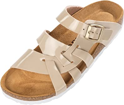 Palado® Damen Sandalen Kreta | Made in EU | Hausschuhe in vielen Farben | Pantoletten mit Natur Kork-Fussbett und angenehm weichem Fußbett | Sohle aus feinem Velourleder