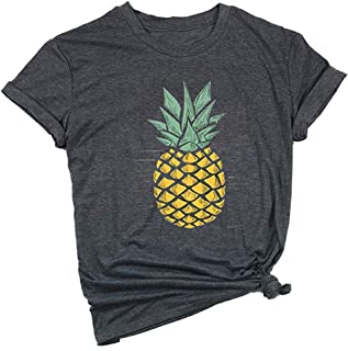 Pineapple Print Shirt Women Funny Graphic Tees Summer Casual Short Sleeve Vacation Tops T-Shirt