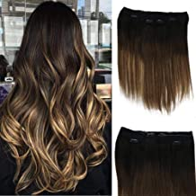 Full Shine Ombre Clipins Hair Extensions Human Hair 12 Inch Crown Halo Couture Hair Extensions Fashion Hot Color #1b Fading To #6 And #27 Balayage Honey Blonde Remy 100g 3 Pieces Diy