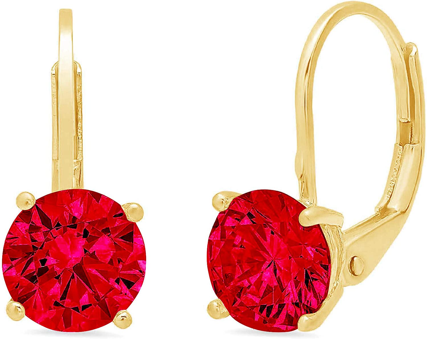 2.0 ct Brilliant Round Cut Solitaire Flawless Genuine Pink Tourmaline Gemstone VVS1 Ideal Pair of Leverback Drop Dangle Designer Earrings Solid 14k Yellow Gold