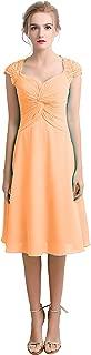 TalinaDress Womens Short Chiffon Lace Cap StrapsBridesmaid Dress Prom Gown E100LF